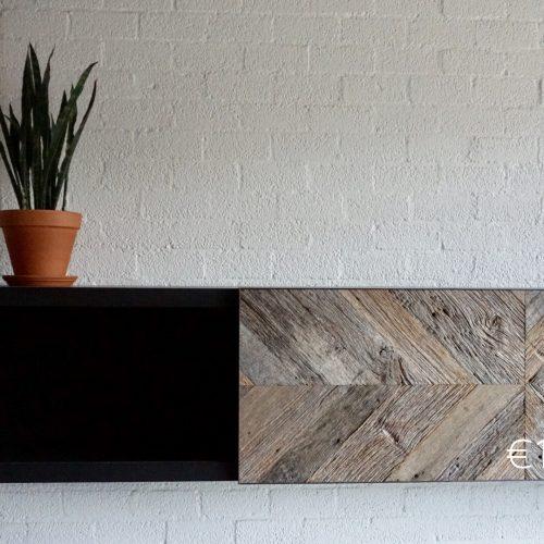 Wandkast zwart mdf met barnwood
